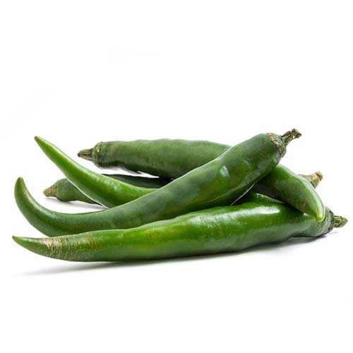 Fresh Green chili papper on white background.