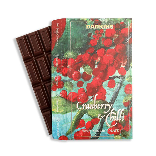 Cranberry chilli chcocolate 70% front
